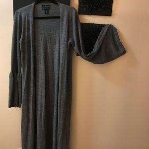 Grey Cynthia Rowley long ankle length cardigan
